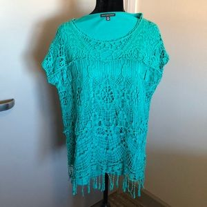 Tops - Teal Crochet Detail Blouse